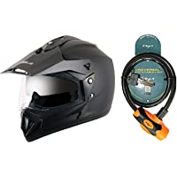 Vega Off Road D/V Black Helmet-L and Vega Safety Cable Lock Dull Orange Black