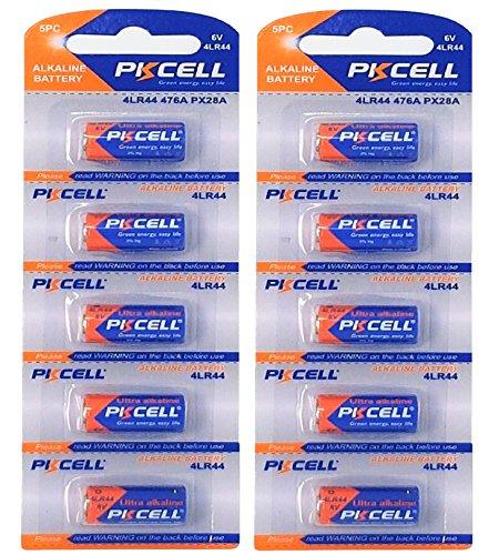 EUNICELL - 10piles alcalines sans mercure - 4LR44 - 6V - (lot de 2paquets de 5piles) - PX28, 4G13, 476A, L1325