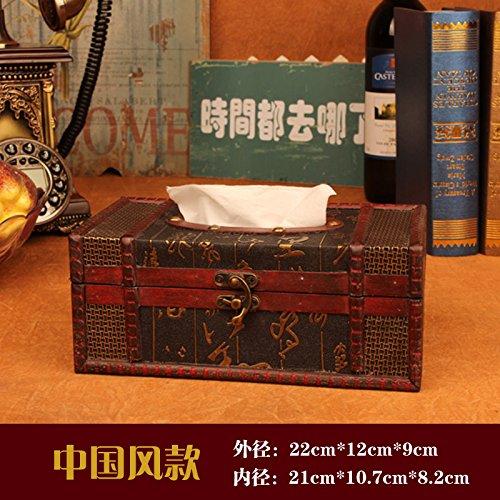 MEICHEN-Vintage igienico box creative libro antico scatola in legno scatola tessuto,06 - Libro Blu Tovagliolo