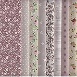 Tessuti (colori marroni, ecru e grigi) | Confezione di 8 pezze | 100% puro cotone | 46 x 56 cm