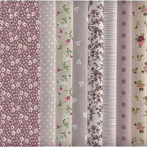 Set de telas - 8 telas (marrón, beige y gris) - colección de telas de coordinación (pequeños diseños) | 100% algodón | 46 x 56 cm
