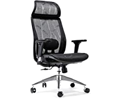 Amazon Brand - Umi Ergonomic office chair, Breathable High-Back Mesh Desk Chair with Adjustable Lumbar Support, 3D Armrests,
