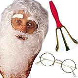 3-teiliges Verkleidungs-Set * WEIHNACHTSMANN * für den perfekten Weihnachtsmann mit Perücke,Bart und Augenbrauen, Brille und Glocke // Set Verkleidung Kostüm Nikolaus Glocke Bart Brille Kinder