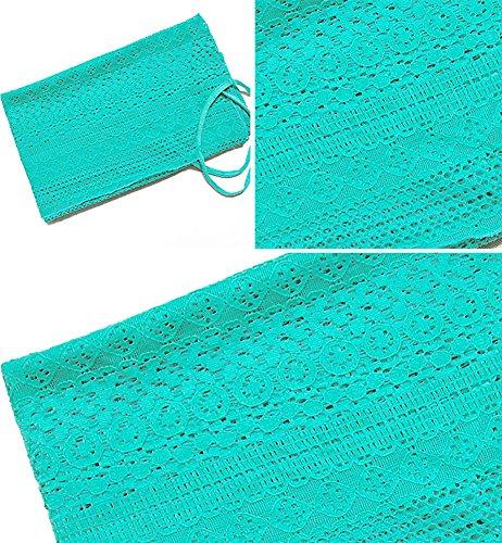 Robe de Plage Tricot Crochet Cover Up Robe Courte Dos Nu Paréos Cache-Maillots et Sarongs Femme Vert