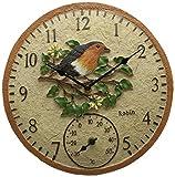 """Orologio da parete per giardino Outdoor Termometro 12""""Uccelli Selvatici all' esterno design Robin"""