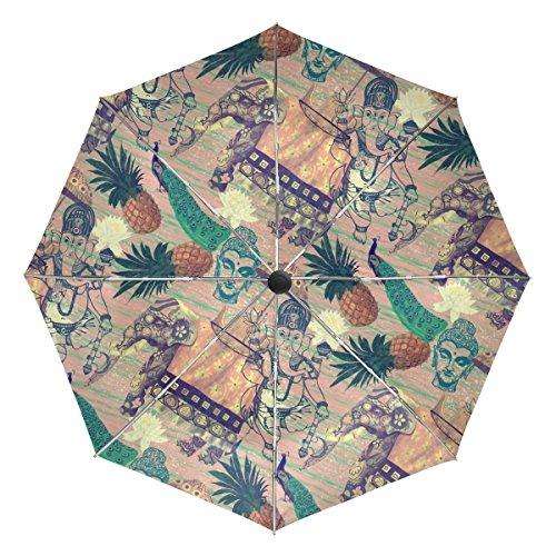 COOSUN Los Elefantes Indios automático 3 Plegable del Paraguas del Parasol Color...