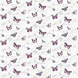 MyTinyWorld Paquet de 5 Maison de Poupées Papillons sur Blanc Papier Peint Feuilles