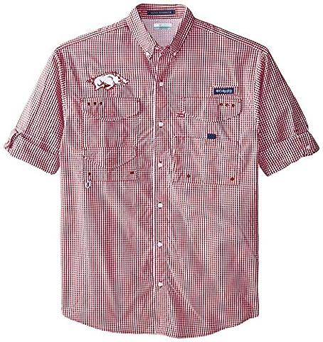 NCAA Arkansas Razorbacks Men's Collegiate Super Bonehead Long Sleeve Shirt, Red Velvet Gingham, X-Large