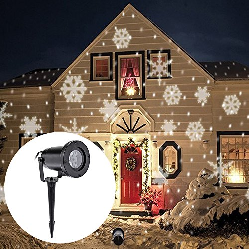 Christmas Projector Lamp Moving White Snowflake LED Landscape Projection Lights Waterproof Outdoor/Indoor Decor Spotlights Stage Irradiation for Christmas Party Holiday Home Decoration Garden Tree Wall Decor Spotlights