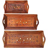 Greentouch Crafts Handmade Wooden Serving Coffee Tray, Set Of 3 With Brass Work