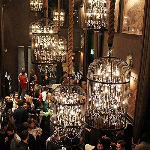 XIXIONG Lighting American Rurale Loft Industriale Battuto Ferro Cristallo Birdcage Lampadari Nordic Retrò Ristorante Abbigliamento Corridoio Bar