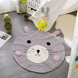 VClife® Teppich Kinderzimmer Schlafzimmer Wohnzimmer Boden Babyzimmer Dekoration Kinderteppich Spielteppich Manuell Polyester Gestrickt Weich Geschenk etwa 80 x 80cm Bär
