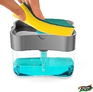 ZooY 2 in 1 Soap Dispenser for Dishwasher Liquid Holder , Liquid Dispenser Through Pump ( Multi-Color , 400 ML) with Sponge (Grey)