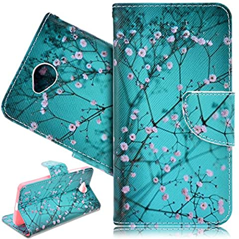 SmartLegend PU Leather Case for Microsoft Nokia Lumia 650 Vintage Flower Spring Theme Fashion Wallet Pocket Flip Cover Cell Phone Hoslter with Magnet Closure and Card Slots Holster Bookstyle Stand Function Protective Cover - Peach Blossom