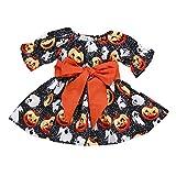 Honestyi BabyBekleidung Kleinkind Infant Baby Mädchen Kürbis Geist Print Kleider Halloween Kostüm Outfits (100,Schwarz)