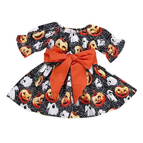 ung Kleinkind Infant Baby Mädchen Kürbis Geist Print Kleider Halloween Kostüm Outfits (100,Schwarz) ()