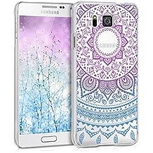 kwmobile Funda para Samsung Galaxy Alpha - Case de cristal plástico para móvil - Cover trasero Diseño sol indio en azul rosa fucsia transparente