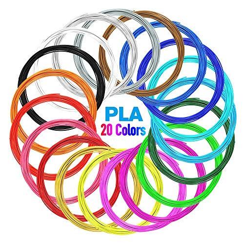 Filamento PLA,Filamento PLA de 3D Impresion 1.75mm, Nulaxy Filamento Impresión 3D,20 Colores Cada Color 16pies