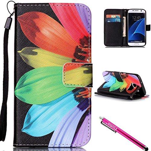 Galaxy S7Fall, firefish [Ständer] [/Cash Slots] leicht Premium PU Leder Brieftasche Flip Cover mit Handschlaufe für Samsung Galaxy S7 For Samsung Galaxy S7 sonnenblume (Tv-ständer-combo)