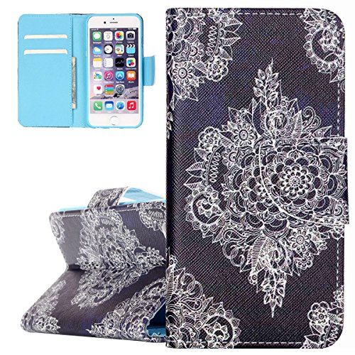 Hülle für iPhone 6 6S, Tasche für iPhone 6 6S, Case Cover für iPhone 6 6S, ISAKEN Malerei Muster Folio PU Leder Flip Cover Brieftasche Geldbörse Wallet Case Ledertasche Handyhülle Tasche Case Schutzhü Blumen Weiß