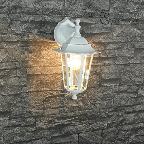 Rustikale Wandleuchte in weiß-graumatt inkl. 1x 12W E27 LED 230V Wandlampe aus Aluminium für Garten/Terrasse Garten Weg Terrasse Lampen Leuchte außen Beleuchtung (Antik 2-licht Wandleuchte)