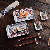 Panbado, Porzellan Japanisch Sushi Set, 8-teilig beinhaltet 2 Teller + 2 Sauce Schälchen + 2 Paar Essstäbchen + 2 Essstäbchen Ständer für 2 Personen