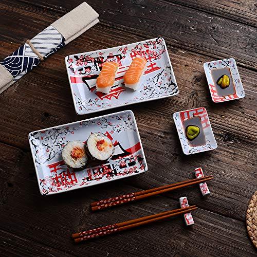 Panbado set sushi in porcellana ceramica stile giapponese bianco rosso fiori, piatti da sushi, ciotole salse, bacchette, poggiabacchette - set 2 pezzi per 2 persone