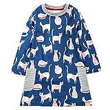 VIKITA Mädchen Baumwolle Langarm Streifen Tiere T-Shirt Kleid AB1027 7T