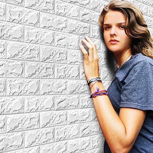 Pegatina de pared, K-youth® Espuma 3D Pegatinas para pared Creativo Vinilo Decorativo del Cristal DIY Pegatinas de pared Decoración de pared en Relieve Piedra de ladrillo Papel Pintado (60 X 30 X 0.8cm, Blanco)