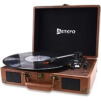 Plattenspieler , AETKFO Bluetooth Plattenspieler 3-Gang Vinyl Plattenspieler mit Lautsprecher, Unterstützung Aufnahme…