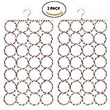 #5: HOKIPO® Metal Folding Scarf Ring Hanger, 28 Rings, Set of 2, Random Colors