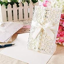 Invitacion de boda con Sobre papeleria Marfil Diseño romantica Color Marfil #HK-8 (10 uds.)