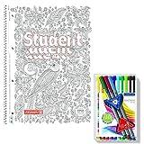 ZenArt College-Block 90g DIN A4 Papier Liniert mit Ausmalcover inkl. 13 Staedtler Fineliner Triplus Brilliant Colours