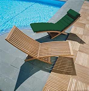 Lucia Modern Teak Sun Lounger with Cushion (Green) - Jati Brand, Quality & Value