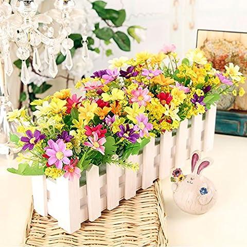 Fiori artificiali ShiQi vero tocco di fiori finti in plastica Vaso di fiori di ornamenti Soggiorno Festival Home giardino decorazione di nozze 30 White Picket Fence sette Butterfly ama un fiore