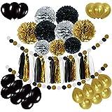 Newland 46 papel de seda de las PC, 9 pompones Pom Poms, guirnalda de 15 borlas, 20 globos del látex, guirnalda del papel de 2 puntos, para el cumpleaños, el casarse, la fiesta de bienvenida al bebé, los partidos, las decoraciones principales, las decoraciones del partido (Negro)