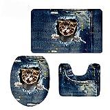 3-teiliges Bad Teppich Set weiß Katze Muster Badezimmer Teppich/Große Contour Matte mit Deckel Bezug Denim Blau