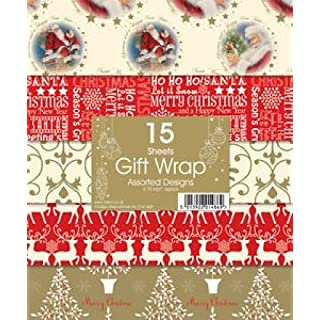 15 sheet christmas gift wrap assorted designs