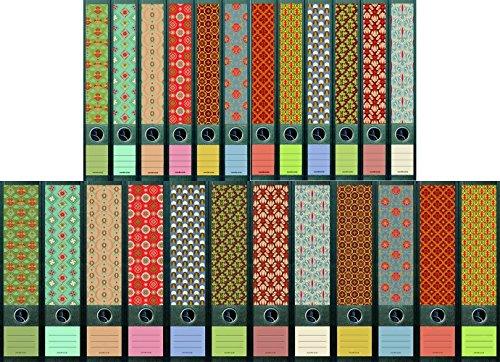 """File Art - Ordnerrücken Design Etiketten - Motiv \""""Pattern\"""" für 12 breite + 12 schmale Aktenordner als Kollektion FA-AJ321+322+323+607+608"""
