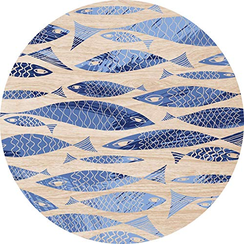 2D-Wandobjekt aus Holz | Fisch | Fish | Abstrakt | Blau | Zeichnung | Wandteller | Holzbild | Shabby-Look | Landhaus | Vintage | Holzobjekt | Deko | Holzdruck | Geschenk, Größe:ca. 30x30cm