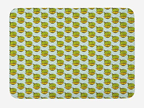at, Diamond Pattern Rectangles Background with Plants Ethnic South American, Plush Bathroom Decor Mat with Non Slip Backing, 31.69 X 19.88 Inches, Apple Green Yellow Mint ()