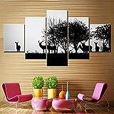 TMMTO Image sur Toile 5 Parties Images HD De Décor De Mur De Toile Home Decor Photos Silhouette Noire d'un Chasseur Et d'un Chien dans La Forêt Posters Cadre-B...