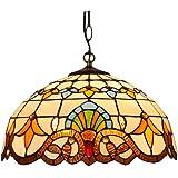 LED Tiffany Style Lampadario, Vetro Colorato E27 * 2 Lampada A Sospensione, Camera Da Letto Retrò in Ferro Battuto Singola Ca