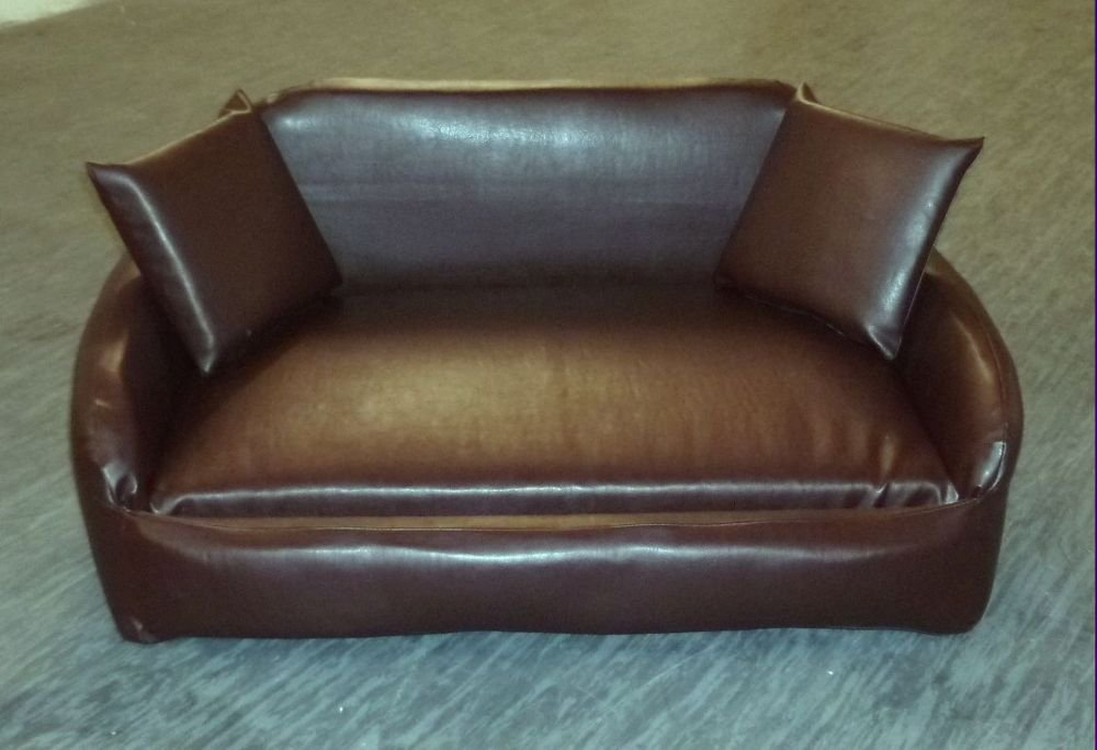 zippy all faux leather sofa pet dog bed medium brown amazoncouk pet supplies