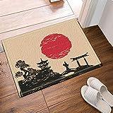 gohebe Japan Decor Holz Brücke und Japanisches Mädchen Silhouette Bei Sonne Bad Teppiche rutschhemmend Boden Eingänge Outdoor Innen vorne Fußmatte 39,9x59,9cm Badvorleger Badematte Bad Teppiche