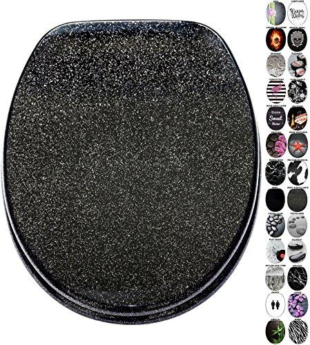Sedile wc con chiusura ammortizzata, grande scelta di sedili wc neri da legno robusto e di alta qualità (nero scintillante)
