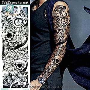 Body art temporary removable tattoo stickers sleeve for Fake tattoos amazon