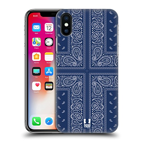 Head Case Designs Rosso Paisley Bandana Classica Cover Retro Rigida per Apple iPhone X Croce Blu