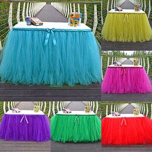 (Yunhigh tutu Tulle Tisch Röcke für Rechteck & runde Tische Baby Dusche Dekoration Tischdecke Tuch für Geburtstag Hochzeit Weihnachten Parteien Dekor - rot)