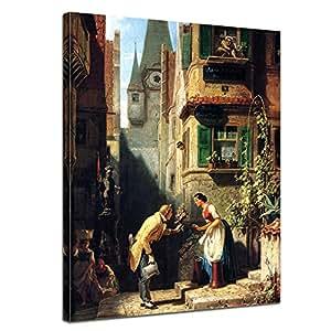 """Bilderdepot24 tela immagine Carl Spitzweg - Antichi Maestri """"lo Sposo Eterna"""" 50x60cm - completamente incorniciato, direttamente dal produttore"""